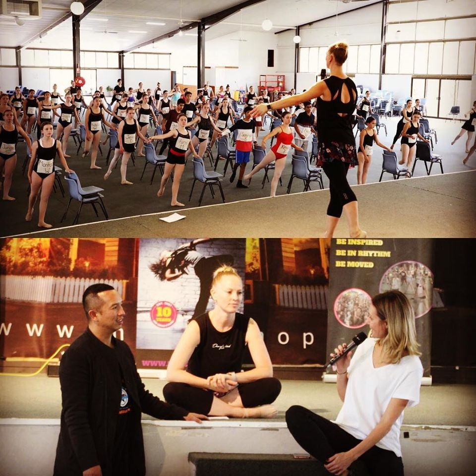 split photo - top photo shows group of dancers being instructed by choreographer, second photo is three teachers talking together