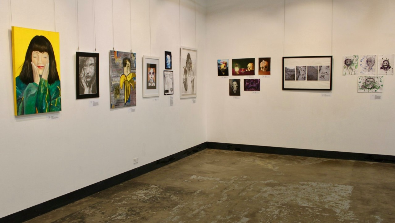 Student artworks on display at exhibition